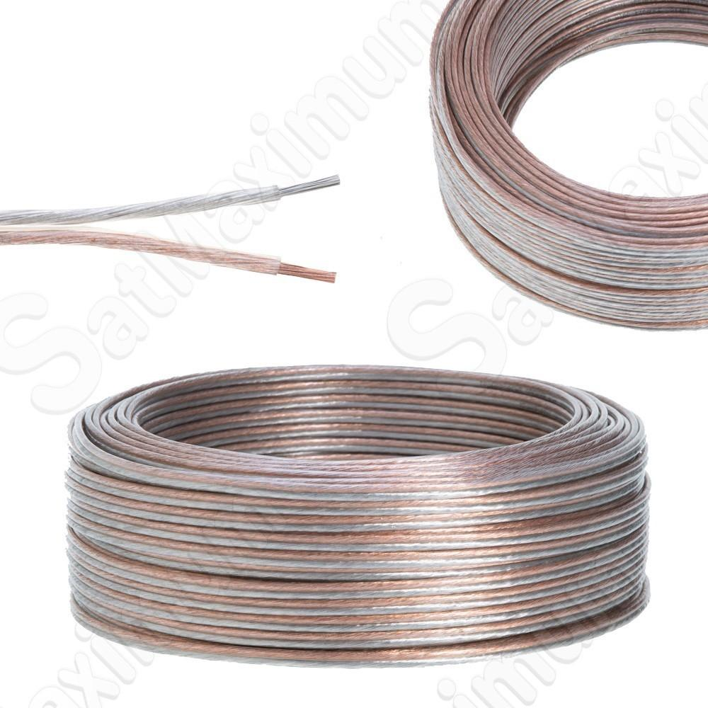 TRANSPARENT Speaker Cable Clear Audio Wire 12/2 14/2 16/2 AWG AUX ...