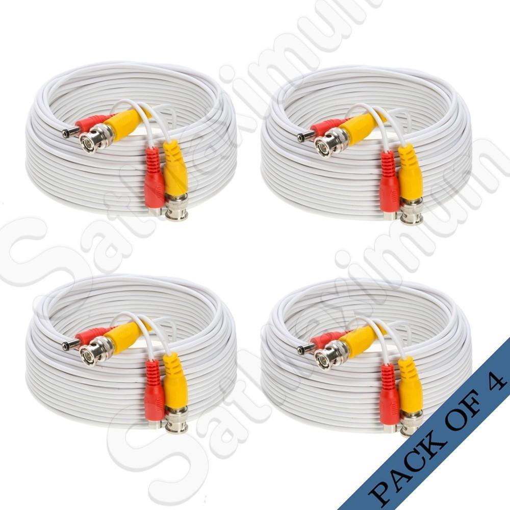 100ft Security Camera Video Cable White Bnc Rca Wire Dvr Cctv Wiring Surveillance Cameras 4 X Power For Cord